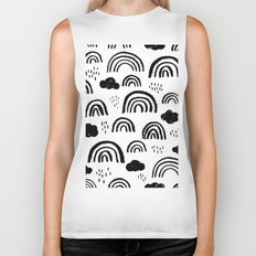 Black and white rainbow clouds Biker Tank