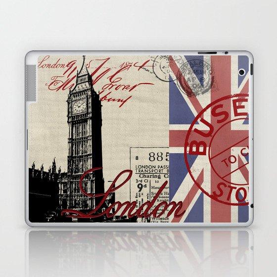London Great Britain Big Ben Flag Collage Laptop & iPad Skin