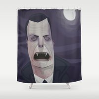 dracula Shower Curtains featuring Count Dracula by Crooked Octopus