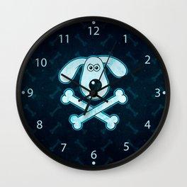 Dog Cartoon Blue Rain Bones Background Wall Clock
