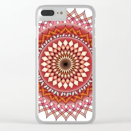 Abstract damask red spiral Clear iPhone Case