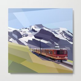 Geometric Jungfraujoch railway, Bernese Alps, Switzerland Metal Print