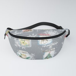 Christmas Jars Grey Fanny Pack