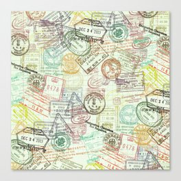Passport Stamps Canvas Print