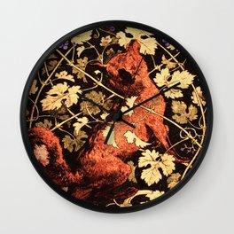 Fox Among The Grapes Wall Clock