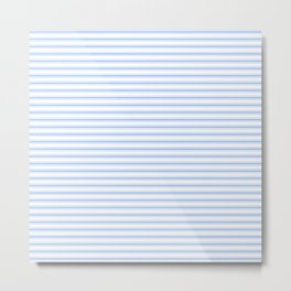 Mattress Ticking Narrow Horizontal Stripe in Pale Blue and White Metal Print