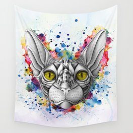Watercolor Sphynx Cat Wall Tapestry