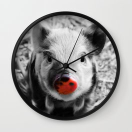 BW splash sweet piglet Wall Clock