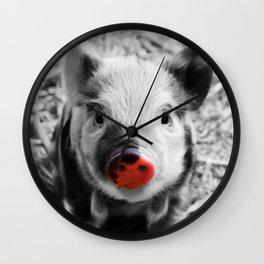 BW splash sweet piglet Wall Clock