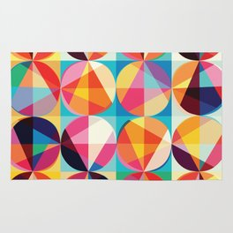 Beautiful colors Geometry, geometric abstract triangles circles squares Rug