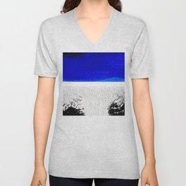 Blue river and a white landscape Unisex V-Neck