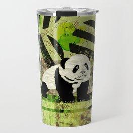Panda Cub  Abstract vintage pop art composition Travel Mug