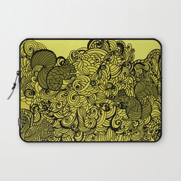 Squirrels Zentangle Drawing Yellow Laptop Sleeve