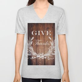 rustic western country barn wood farmhouse wheat wreath give thanks Unisex V-Neck