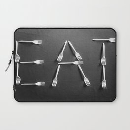 EAT alphabet with plastic forks in black and white Laptop Sleeve