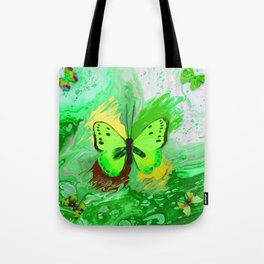 Neon Green Butterfly Tote Bag