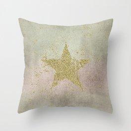 Sparkling Glamorous Golden Star Throw Pillow