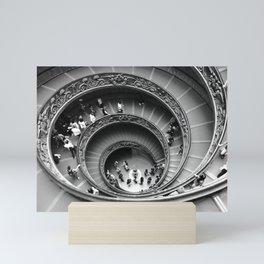 Vatican spiral staircase black and white Mini Art Print
