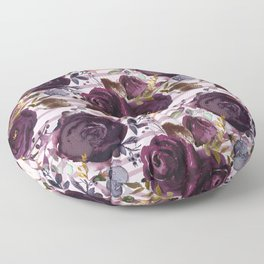 Deep Burgundy Blossom on Soft Pink with Hand Painted Stripes  Floor Pillow