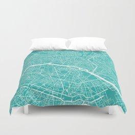 Paris map turquoise Duvet Cover
