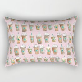 Coffee Cup Line Up in Pink Berry Rectangular Pillow