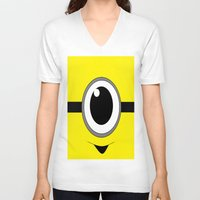 minion V-neck T-shirts featuring Evil Minion by shannon's art space