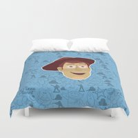 toy story Duvet Covers featuring Woody - Toy Story by Kuki