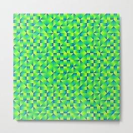Green Lime Geo Pattern Metal Print
