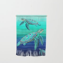 Sea Turtle Turquoise Oceanlife Wall Hanging