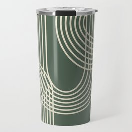 Minimalist Lines in Forest Green Travel Mug