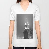 lightning V-neck T-shirts featuring Lightning by Melynda Nichole