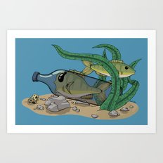 The Fish and the Bottle Art Print