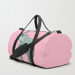 Elephant doodle in mint and pink. Duffle Bag