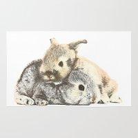 furry Area & Throw Rugs featuring FURRY LOVE by Yuuri Cheryl