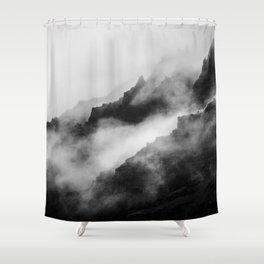 Foggy Mountains Black and White Shower Curtain