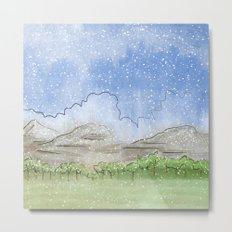 Snowy Watercolor Landscape Metal Print