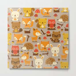 Super Cute Woodland Creatures Pattern Metal Print