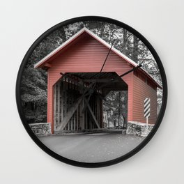 Roddy Road Covered Bridge Selective Color Wall Clock