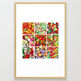 Colorful candy collage Framed Art Print