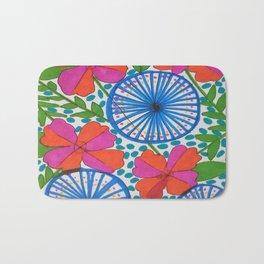 Flowers and Pinwheels Jungle Print Bath Mat