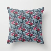 dahlia Throw Pillows featuring Dahlia by ravynka