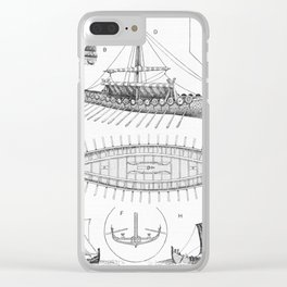 Vintage Viking Naval Ship History and Diagram Clear iPhone Case