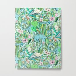 Improbable Botanical with Dinosaurs - soft pastels Metal Print