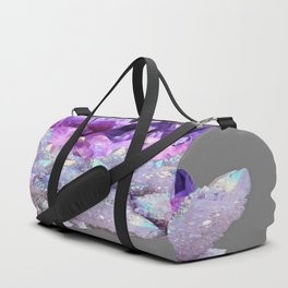 SPARKLY WHITE QUARTZ & PURPLE AMETHYST CRYSTAL Duffle Bag