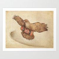 hawk Art Prints featuring Hawk by Terry Fan