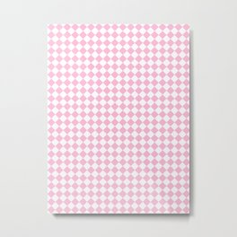 Small Diamonds - White and Cotton Candy Pink Metal Print