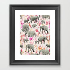 Sweet Elephants in Pink, Orange and Cream Framed Art Print