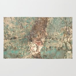 Turquoise and Fawn Brown Marble Rug