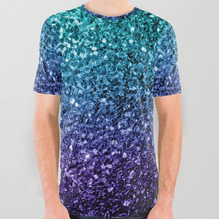Beautiful Aqua blue Ombre glitter sparkles All Over Graphic Tee