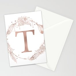 Letter T Rose Gold Pink Initial Monogram Stationery Cards